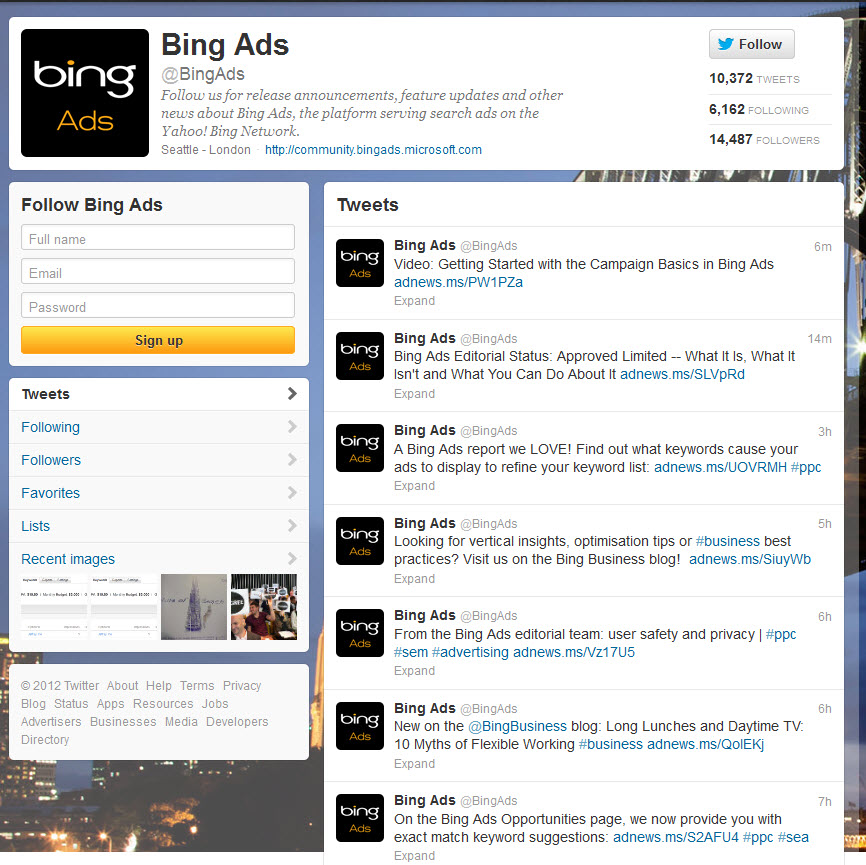 Bing Ads Twitter