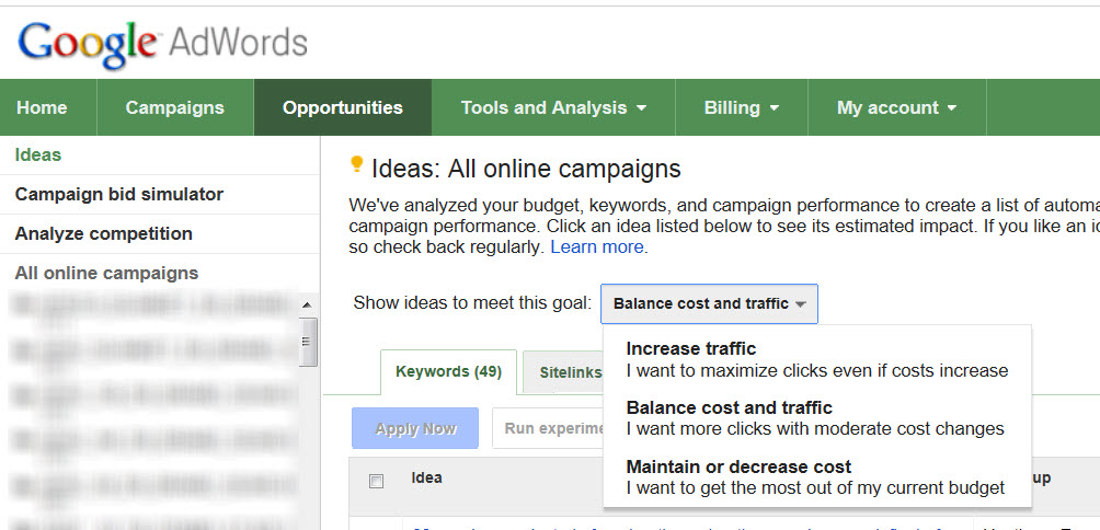Adwords Opportunities Tab Overview