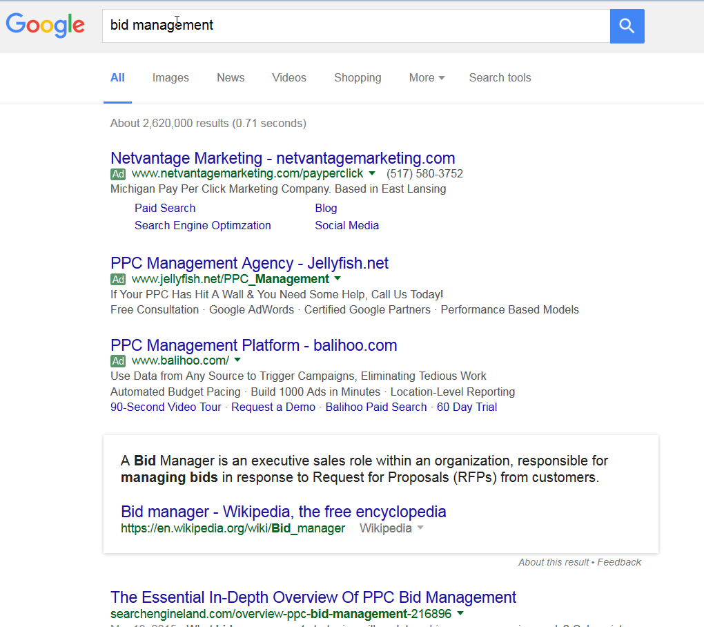 bid management serp